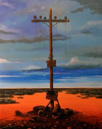 """(CreativeWork) """"Old telegraph pole """" - Rust and dust series by Max Horst  Sokolowski. Acrylic Paint. Shop online at Bluethumb."""