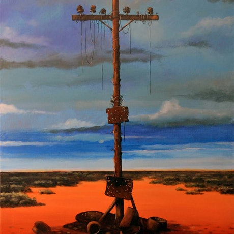 "(CreativeWork) ""Old telegraph pole "" - Rust and dust series by Max Horst  Sokolowski. Acrylic Paint. Shop online at Bluethumb."