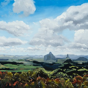 (CreativeWork) Glass House Mountains Panorama. by Meredith Howse. oil-painting. Shop online at Bluethumb.