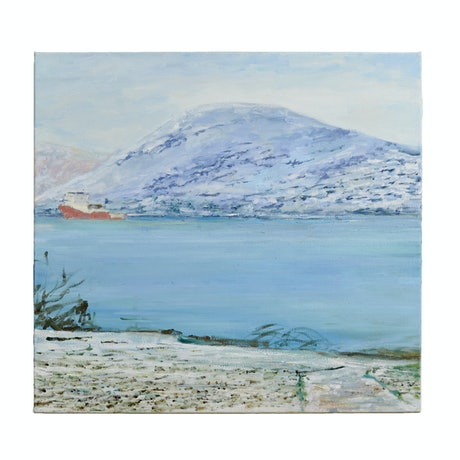 (CreativeWork) Fjord Trawler Heading Out by David McLeod. Oil Paint. Shop online at Bluethumb.