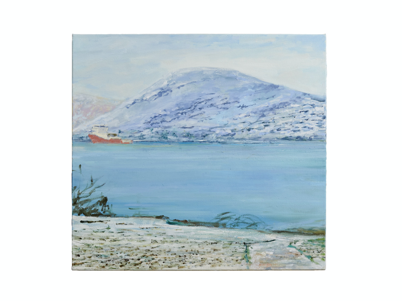 (CreativeWork) Fjord Trawler Heading Out by David McLeod. oil-painting. Shop online at Bluethumb.