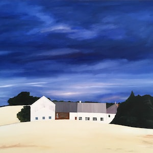 (CreativeWork) Provincial Blue by Meredith Howse. oil-painting. Shop online at Bluethumb.
