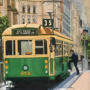(CreativeWork) Boarding the City Circle Tram on Flinders Street by Sylvia Barnes. oil-painting. Shop online at Bluethumb.