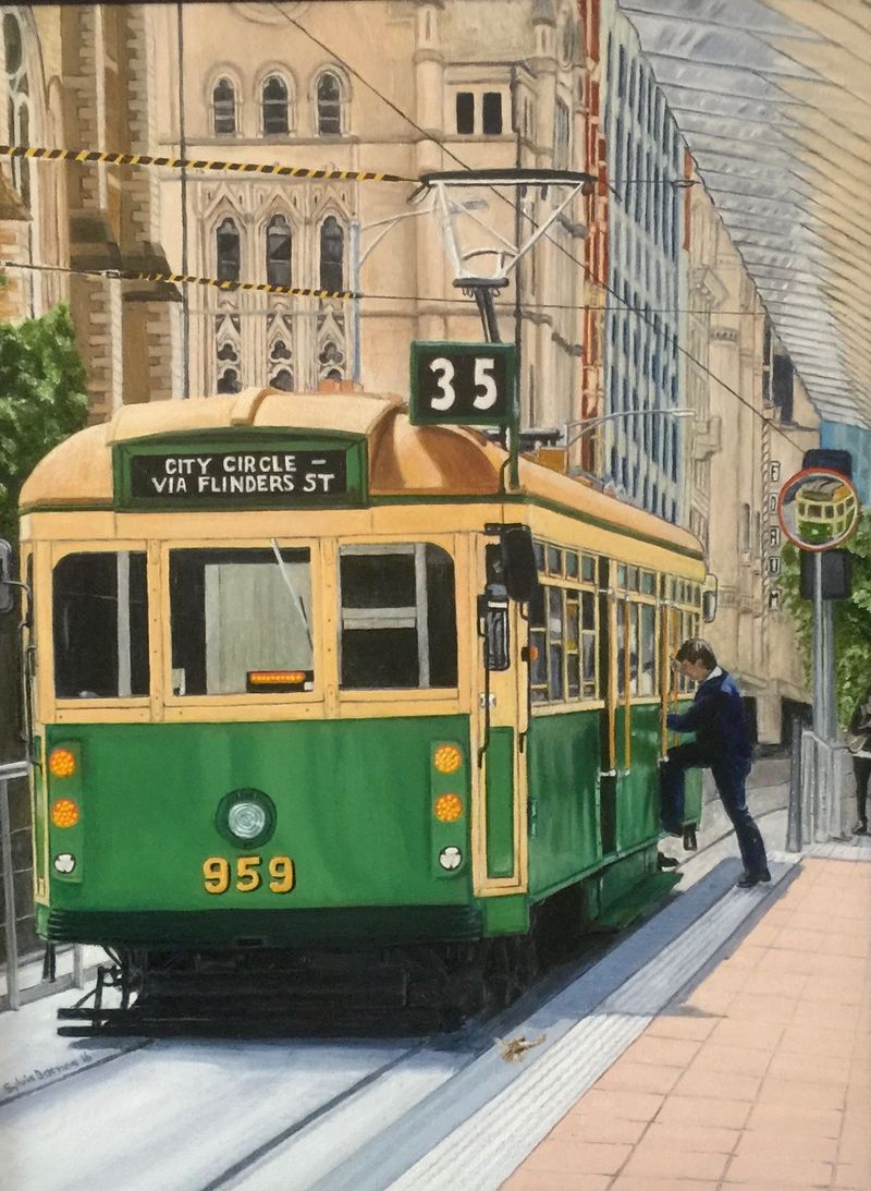 (CreativeWork) Boarding the City Circle Tram on Flinders Street by Sylvia Barnes. Oil Paint. Shop online at Bluethumb.