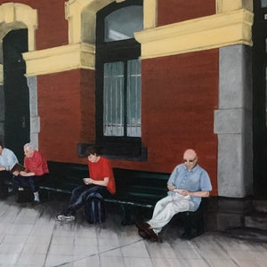 (CreativeWork) Waiting on Platform 1, Flinders Street Station. by Sylvia Barnes. oil-painting. Shop online at Bluethumb.