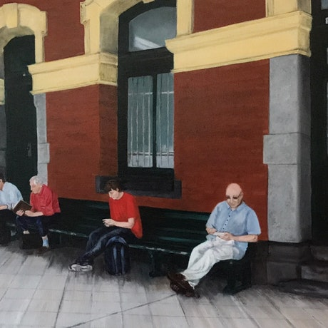 (CreativeWork) Waiting on Platform 1, Flinders Street Station. by Sylvia Barnes. Oil Paint. Shop online at Bluethumb.