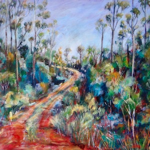 (CreativeWork) Australian Bush Scene by Sue Hill. arcylic-painting. Shop online at Bluethumb.