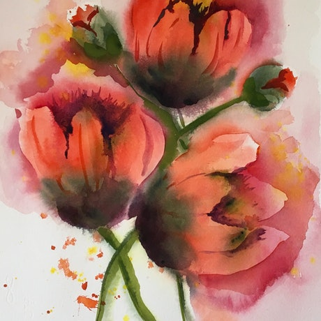 (CreativeWork) Tulips by June king. Watercolour Paint. Shop online at Bluethumb.