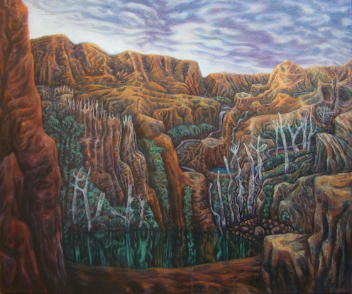(CreativeWork) Cradle Mountain Tarn by Ben Laycock. Oil Paint. Shop online at Bluethumb.