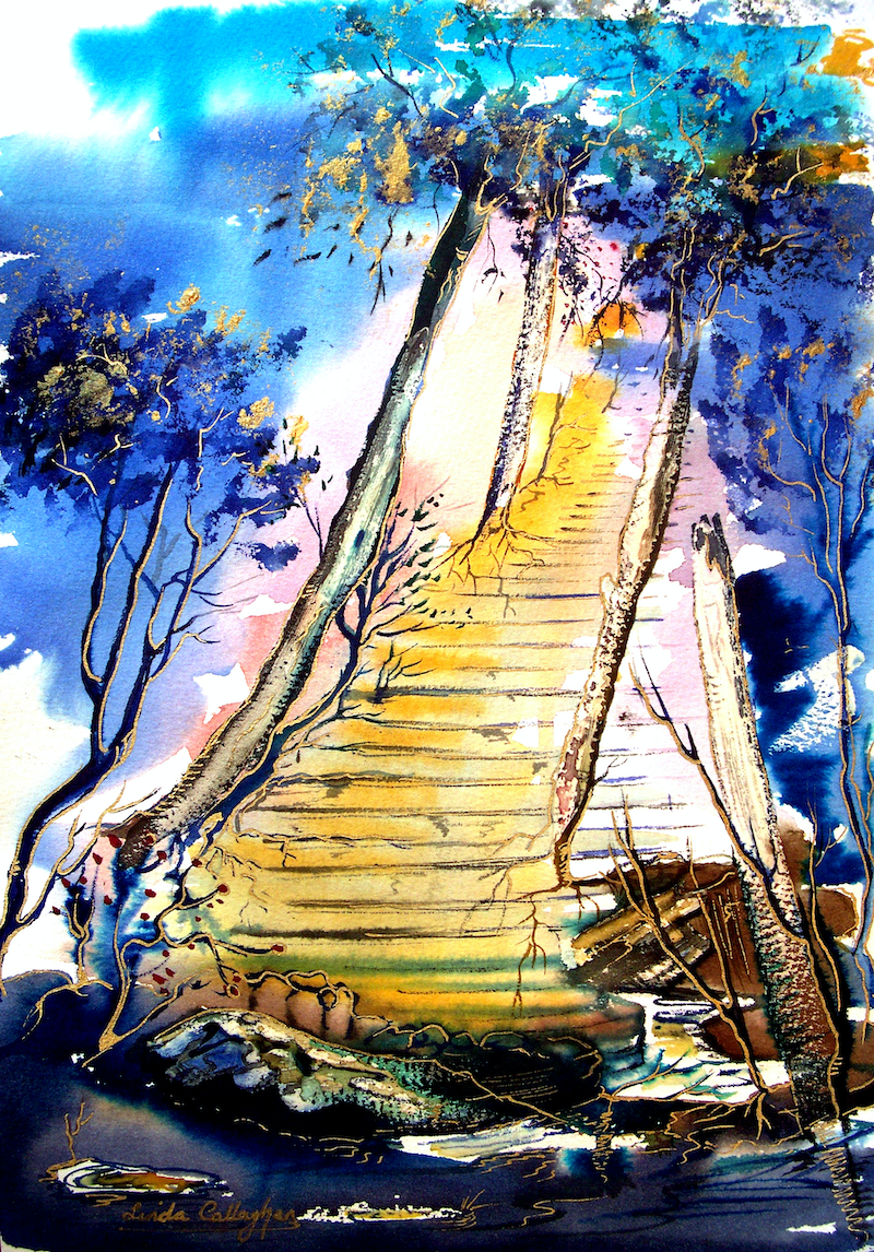 (CreativeWork) Heaven's Stairway by Linda Callaghan. mixed-media. Shop online at Bluethumb.