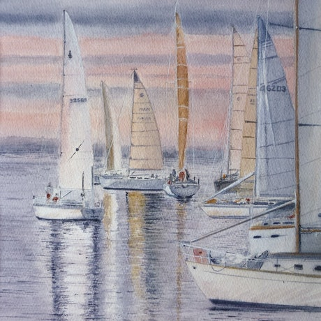 (CreativeWork) Becalmed by Tim Baker. Watercolour Paint. Shop online at Bluethumb.