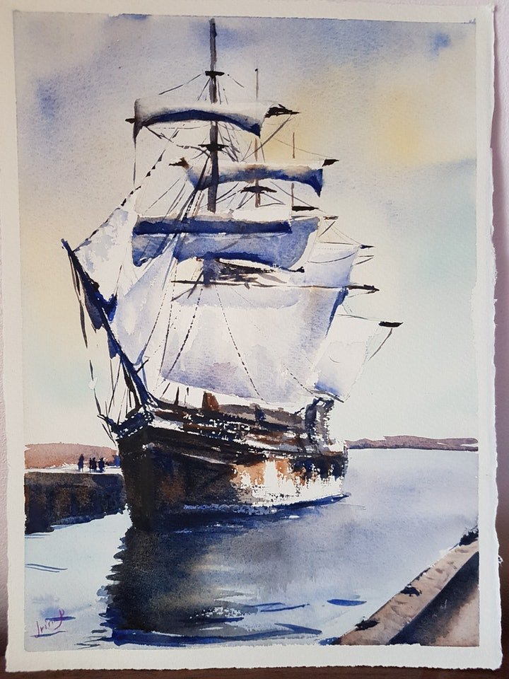 (CreativeWork) Whaling Morgan by Irina Kozyrevitch. watercolour. Shop online at Bluethumb.