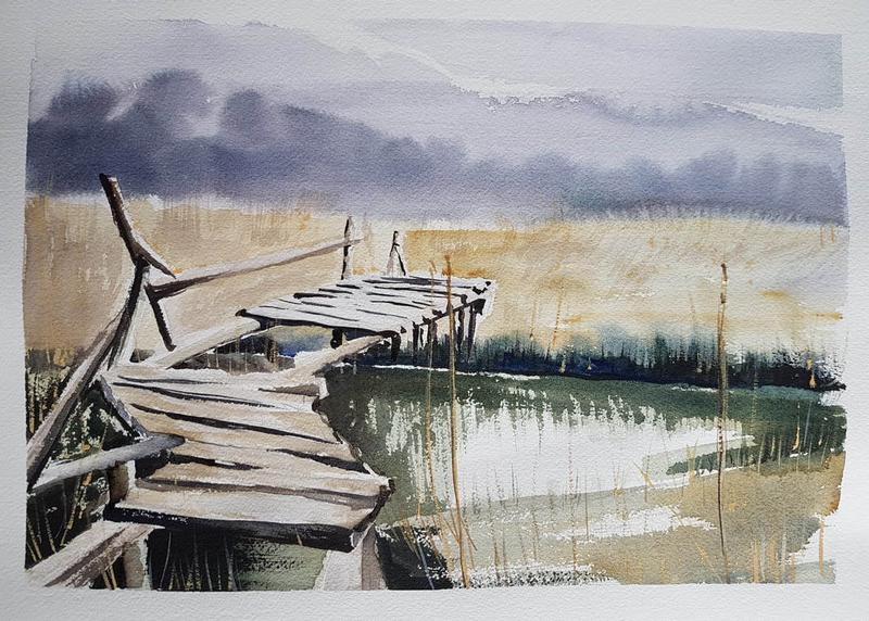 (CreativeWork) Water Bridge by Irina Kozyrevitch. watercolour. Shop online at Bluethumb.