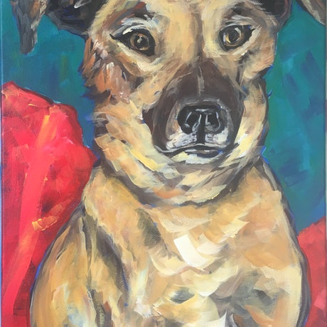 (CreativeWork) Patiently Waiting - Meercat - Studio Dog by Melanie Spurling. Acrylic Paint. Shop online at Bluethumb.