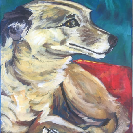 (CreativeWork) Yeah Not Sure! -  Meercat - Studio Dog by Melanie Spurling. Acrylic Paint. Shop online at Bluethumb.