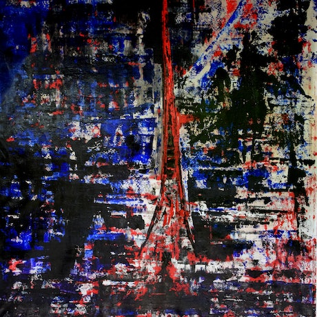(CreativeWork) Paris chaos by Ric Connors. Acrylic Paint. Shop online at Bluethumb.