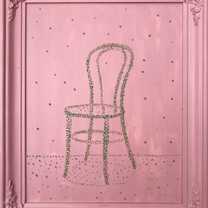 (CreativeWork) All pink bentwood chair by Chantal Morgan. acrylic-painting. Shop online at Bluethumb.