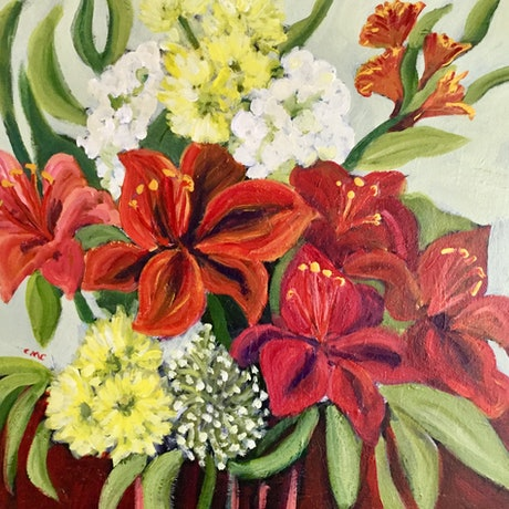 (CreativeWork) Flamboyant Fire Lilies  by Colleen Michelle Connors. Acrylic Paint. Shop online at Bluethumb.