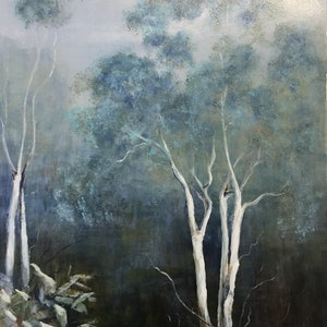 (CreativeWork) Out of the mist by Marjorie Kay. arcylic-painting. Shop online at Bluethumb.