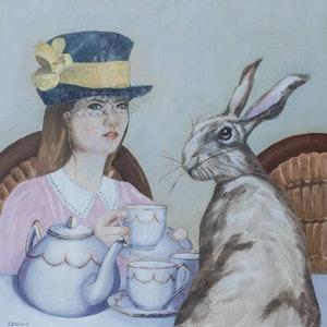 (CreativeWork) Tea and a Chat by Christine Aspland. mixed-media. Shop online at Bluethumb.