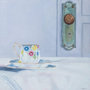 (CreativeWork) Is That For Me? by Christine Aspland. oil-painting. Shop online at Bluethumb.