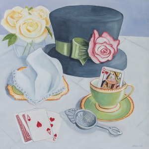 (CreativeWork) Tea With A Queen by Christine Aspland. oil-painting. Shop online at Bluethumb.