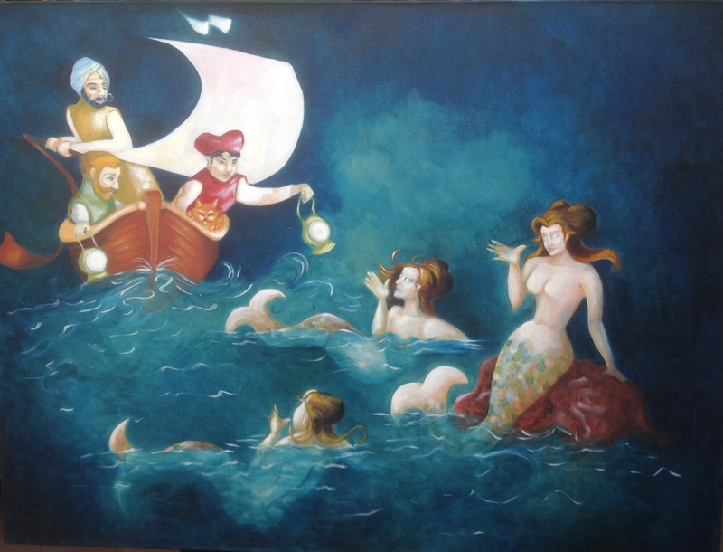 (CreativeWork) The Sirens Are Calling by craig Young-Anand. oil-painting. Shop online at Bluethumb.