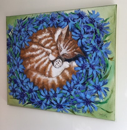 (CreativeWork) Sweet dreams – A ginger cat sleeping in cornflowers by Irina Redine. Oil Paint. Shop online at Bluethumb.