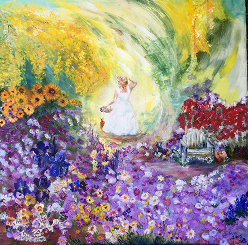 (CreativeWork) Girl in the Garden by Lesley K Williams. oil-painting. Shop online at Bluethumb.
