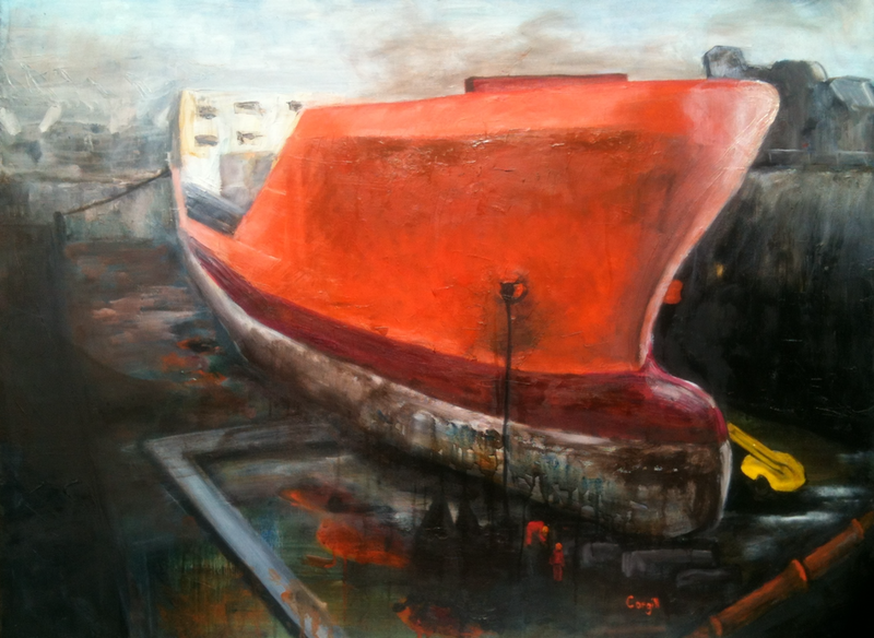 (CreativeWork) Dry Dock 1 by Helena Cargill. Oil Paint. Shop online at Bluethumb.