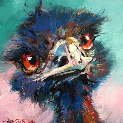 (CreativeWork) Emu 39 by Jos Coufreur. Acrylic Paint. Shop online at Bluethumb.
