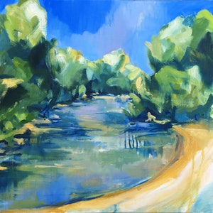 (CreativeWork) Macquarie River Air by Nicole Foxall. oil-painting. Shop online at Bluethumb.