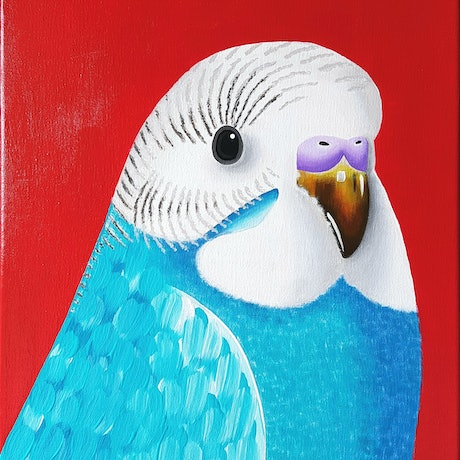 (CreativeWork) Feathered Friend 2 by Alice West. Acrylic Paint. Shop online at Bluethumb.