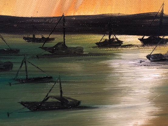 (CreativeWork) Weekends at Sea by Leanne Selkirk. Oil Paint. Shop online at Bluethumb.