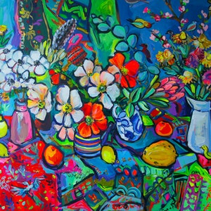 (CreativeWork) Still Life with Flowers and Fruits by Katerina Apale. arcylic-painting. Shop online at Bluethumb.