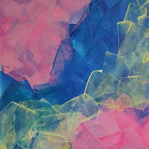 (CreativeWork) Fluorescent Frenzy 1 by Rebecca Warr. Acrylic Paint. Shop online at Bluethumb.