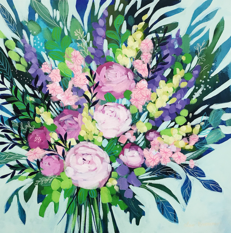 (CreativeWork) Just Because, vibrant floral painting by Clair Bremner by Clair Bremner. arcylic-painting. Shop online at Bluethumb.