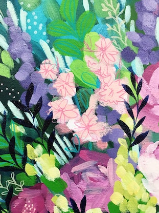 (CreativeWork) Just Because, vibrant floral painting by Clair Bremner by Clair Bremner. Acrylic Paint. Shop online at Bluethumb.