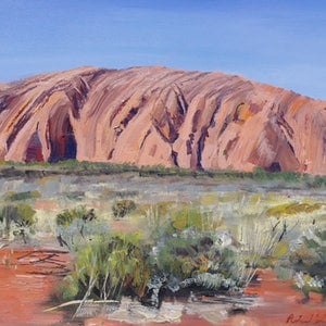 (CreativeWork) Uluru by Roland Weight. oil-painting. Shop online at Bluethumb.