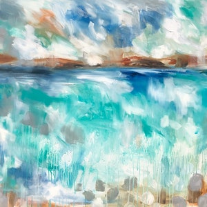 (CreativeWork) Coastal sanctuary  by Amanda Brooks. arcylic-painting. Shop online at Bluethumb.