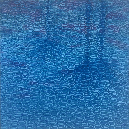 (CreativeWork) Palm Reflections - small abstract painting pool reflections by Jennifer Bell. Acrylic Paint. Shop online at Bluethumb.