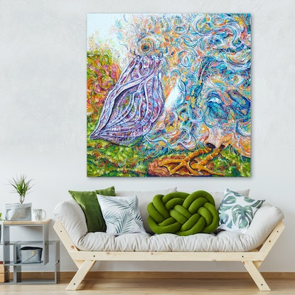 (CreativeWork) Danny the Dancing Pelican by Tina Dinte. Acrylic. Shop online at Bluethumb.