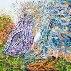 (CreativeWork) Danny the Dancing Pelican by Tina Dinte. arcylic-painting. Shop online at Bluethumb.