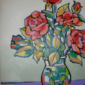 (CreativeWork) ROSES 1 by Saadah Kent. arcylic-painting. Shop online at Bluethumb.