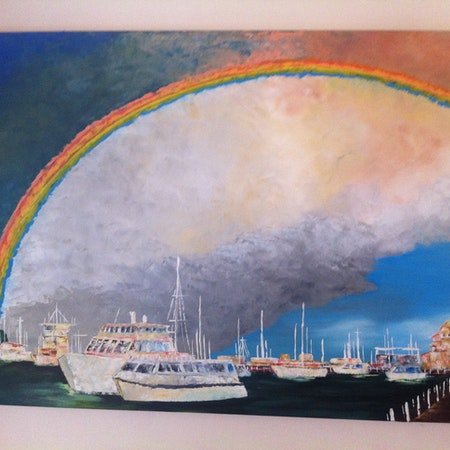 Rainbow over the Esplanade. Lakes Entrance. Vic. 2017.
