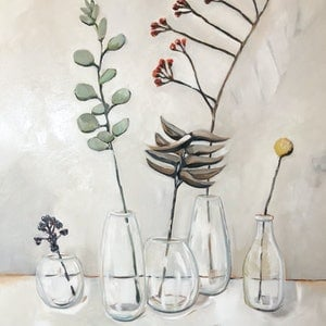 (CreativeWork) Glass Vase & Stems by Sam Suttie. oil-painting. Shop online at Bluethumb.