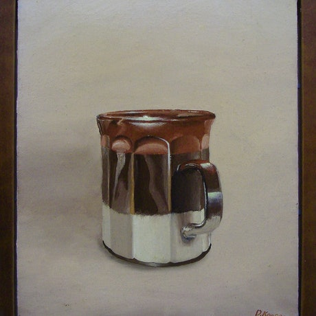 (CreativeWork) 1970s Coffee Cup by David Kaneen. Oil Paint. Shop online at Bluethumb.