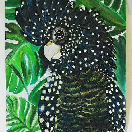 (CreativeWork) Tropical cockatoo chic  by Atty Mann. Acrylic Paint. Shop online at Bluethumb.