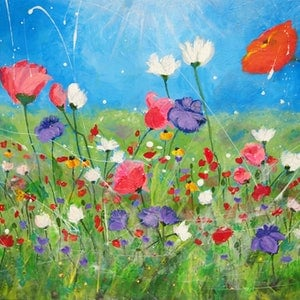 (CreativeWork) Spring Field by Tulika Das. arcylic-painting. Shop online at Bluethumb.