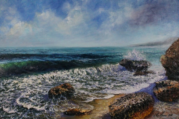 (CreativeWork) Ocean whisper  by Deana Evstefeeva. Oil Paint. Shop online at Bluethumb.